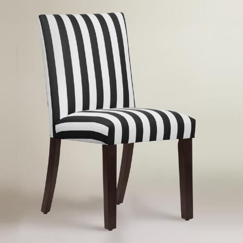 Canopy stripe kerri upholstered dining chair world market for Striped upholstered dining chairs
