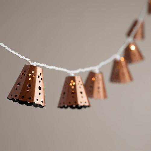 Anthropologie String Lights Copper : Copper Bell 10 Bulb String Lights World Market