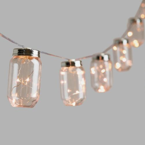 Canning Jar String Lights : Mason Jar Firefly 10 Bulb Battery Operated String Lights World Market