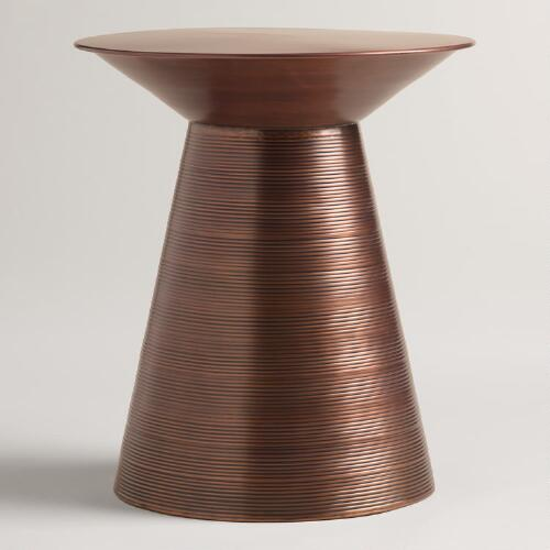 Copper Kettle Drum Coffee Table: Copper Metal Nali Drum Table
