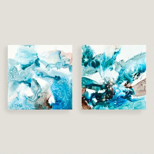 Abstract blues canvas wall art set of two world market for World market wall decor