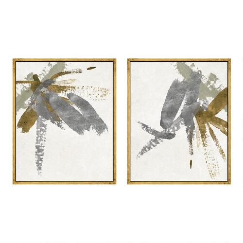 Wall Decor Gold Leaves : Silver gold brushstroke canvas wall art leaf set of