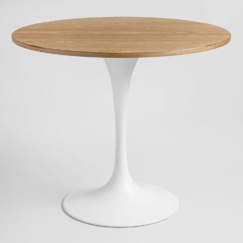 Cost Plus Table: Wood And White Metal Leilani Tulip Dining Table