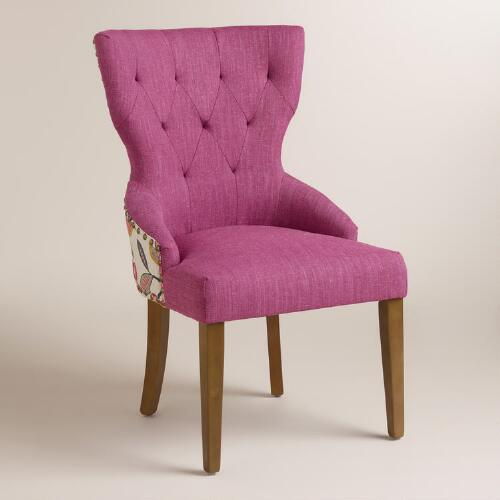 Timeless Grace Floral And Pink Linen Maxine Dining Chair
