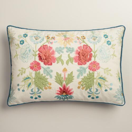 Coral and Blue Floral Embroidered Lumbar Pillow World Market