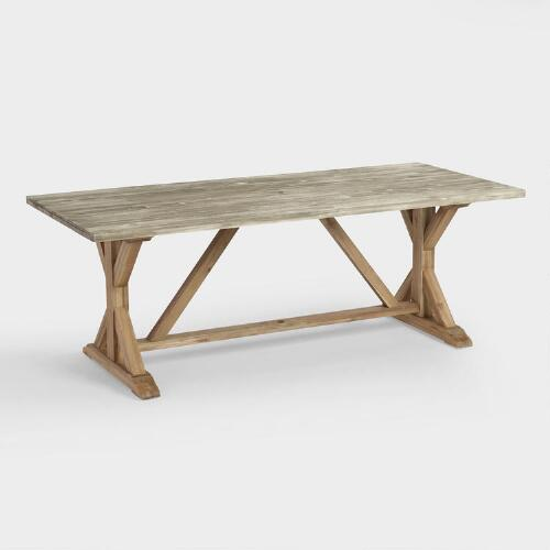 Cost Plus Dining Table: Two Tone Wood San Remo Trestle Dining Table