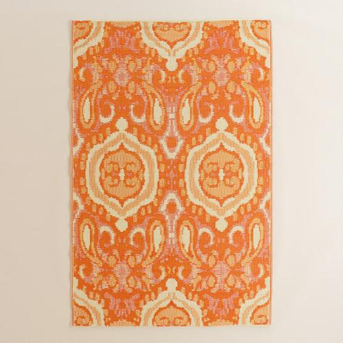 4x6 Orange Ikat Reversible Rio Floor Mat World Market