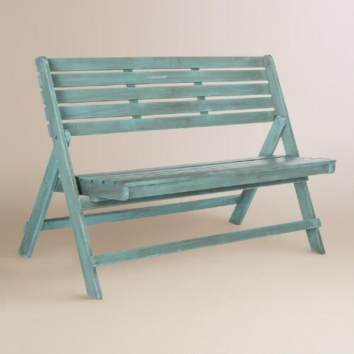Solid Acacia Wood 2 Seat Garden Storage Bench: Sea Blue Wood Outdoor Folding Bench