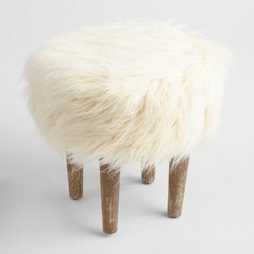 Ivory Faux Flokati Stool World Market