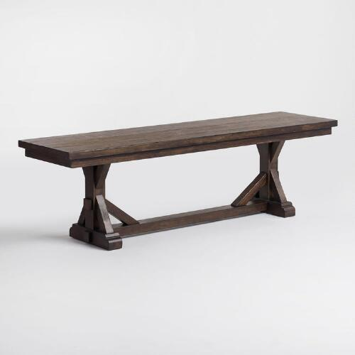 Rustic brown wood brooklynn dining bench world market for Dining table without chairs