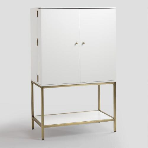 White Lacquer And Metal Cabinet World Market