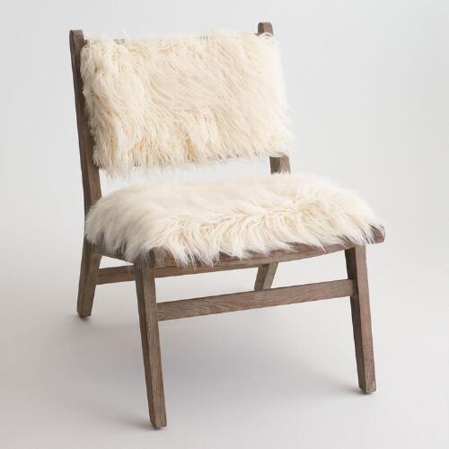 Ivory Faux Flokati Gunnar Chair World Market