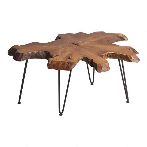 Wood slice coffee table world market One of a kind coffee tables