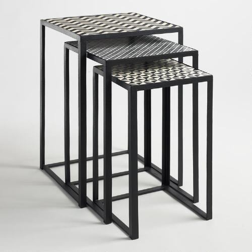 Cost Plus Table: Black And White Square Nesting Tables Set Of 3