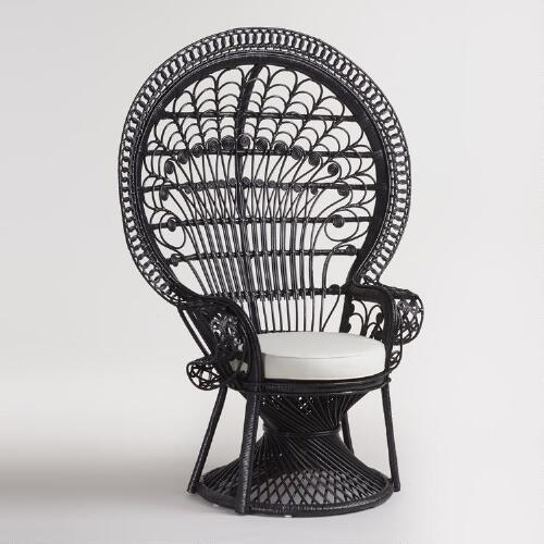 World Bazar: Black Wicker Peacock Chair