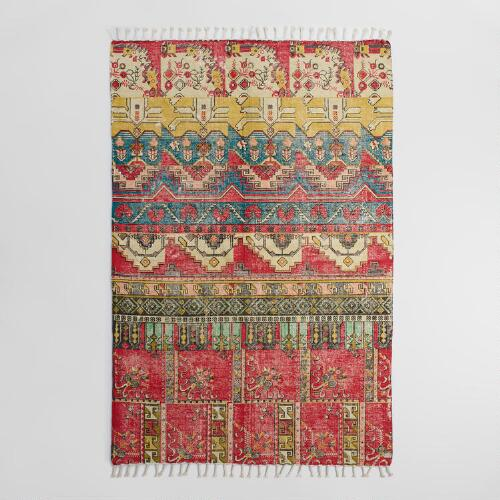 5 X8 Red Cotton Dhurrie Nadia Area Rug World Market