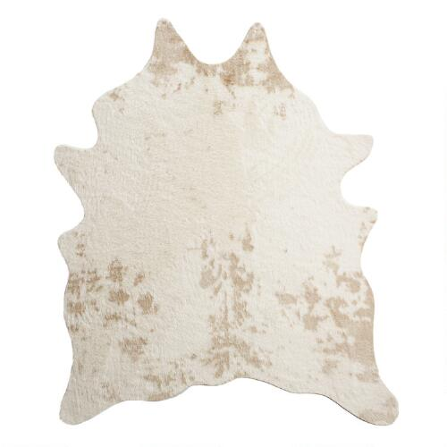 5 X6 7 Quot Ivory Faux Cowhide Area Rug World Market