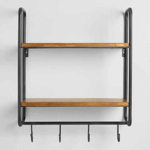 Metal and wood skyler 2 shelf wall storage world market for Kitchen cabinets lowes with old world metal wall art