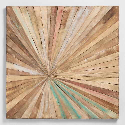 Antiqued sunburst wood panel wall decor world market - Wooden panel art ...