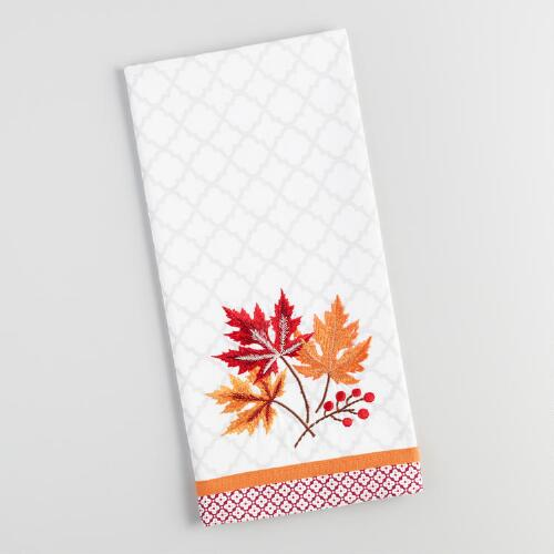 Fall Leaves Embroidered Kitchen Towel