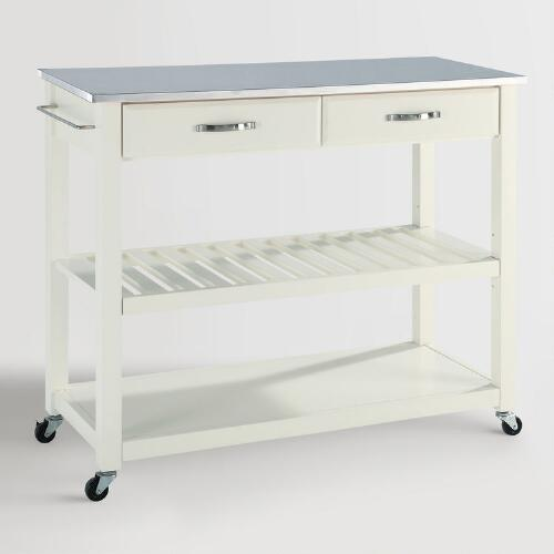 Stainless Kitchen Cart: White Sondra Kitchen Cart With Stainless Steel Top