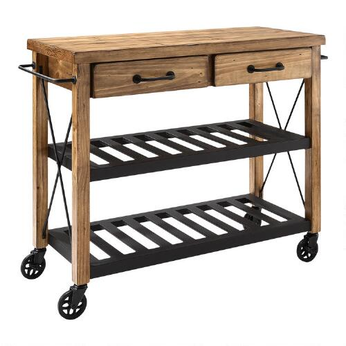 Industrial Kitchen Cart: Wood And Metal Industrial Kitchen Cart