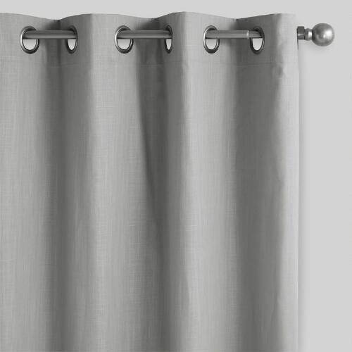 Gray Harlow Grommet Top Cotton Curtains Set Of 2 World