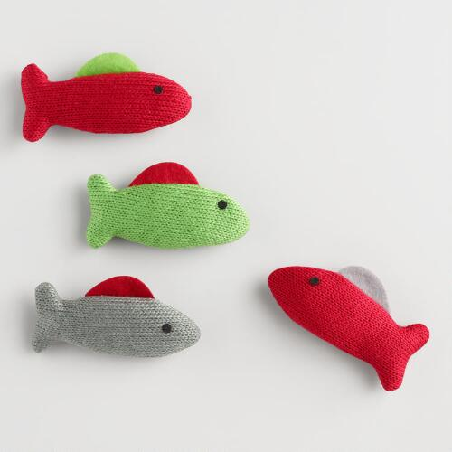 Knit fish cat toys with catnip set of 2 world market for Fish cat toy