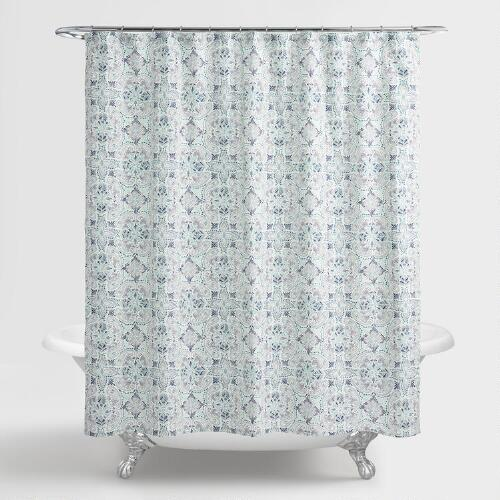 Blue And Aqua Carissa Shower Curtain