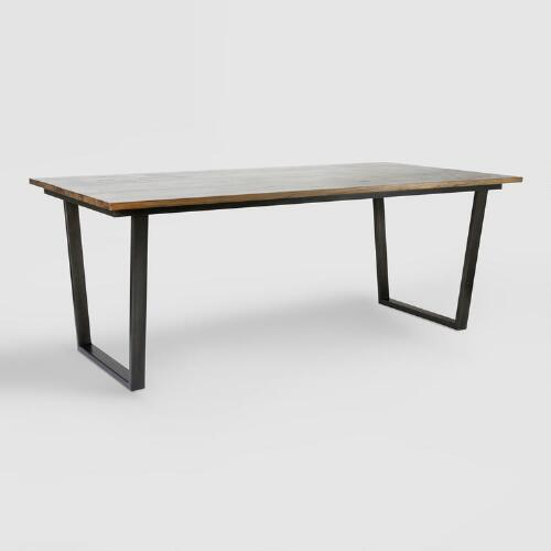 Jackson Rectangular Table With Metal Base: Wood And Metal Ryley Dining Table