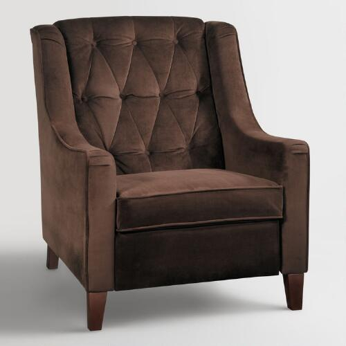 World Market Red Leather Chair: Chocolate Victoria Velvet Tufted High-Back Chair