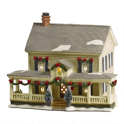 lighted holiday colonial house