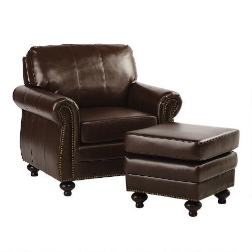 bonded leather library chair with ottoman christmas tree shops