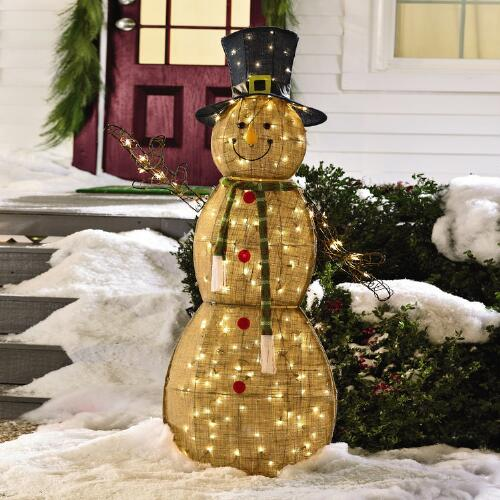 Lighted Burlap Snowman | Christmas Tree Shops andThat!