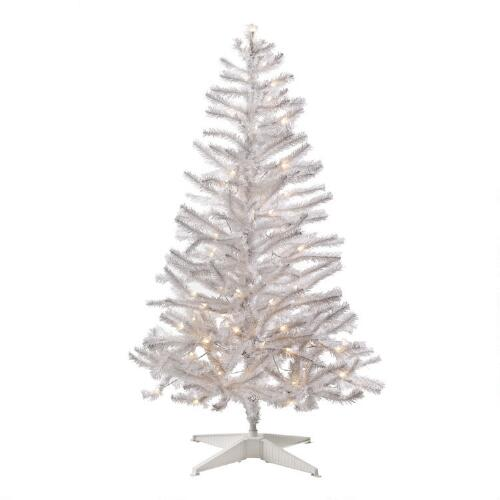 4 5 pre lit white artificial tree with clear lights. Black Bedroom Furniture Sets. Home Design Ideas