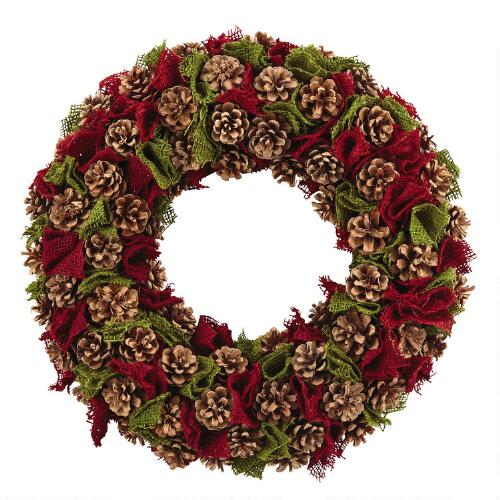 Burlap And Red Christmas Tree: Red And Green Burlap Pine Wreath