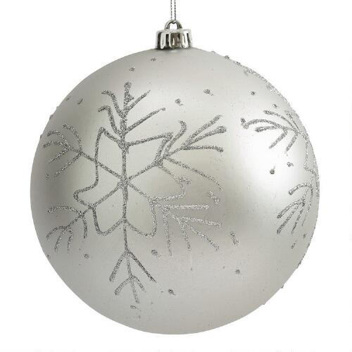 White Silver Ornament Silvers: Large Silver Snowflake Shatterproof Ornament