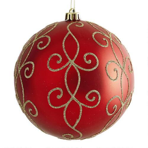 Large Red Christmas Tree Ornaments : Large red swirl shatterproof ornament christmas tree