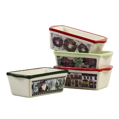 Traditional Christmas Mini Ceramic Loaf Pans Set Of 4