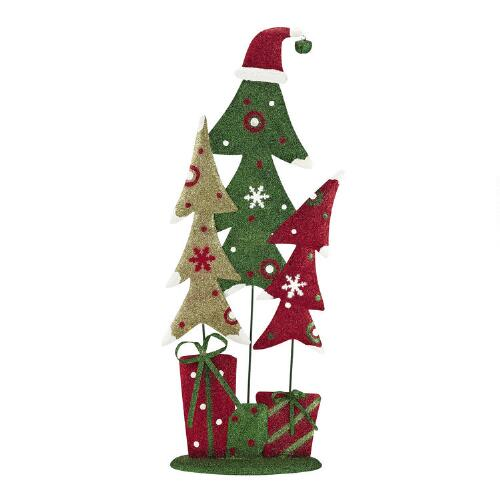 Christmas Tree Trio: Green Glittered Trees Trio With Red Hat