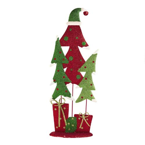 Christmas Tree Trio: Red And Green Glittered Trees Trio With Hat