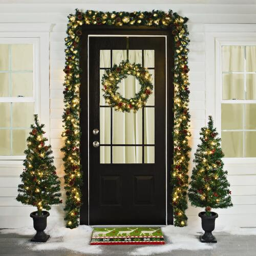 Foyer Rugs For Christmas: Pre-Lit Entryway Christmas Scene, 6-Piece