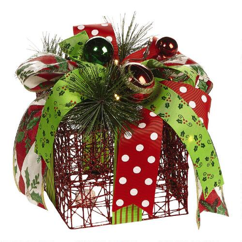Christmas Tree Shp: Small Gold Lighted Holiday Gift Box