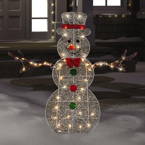 Lighted Tinsel Snowman Christmas Tree Shops Andthat