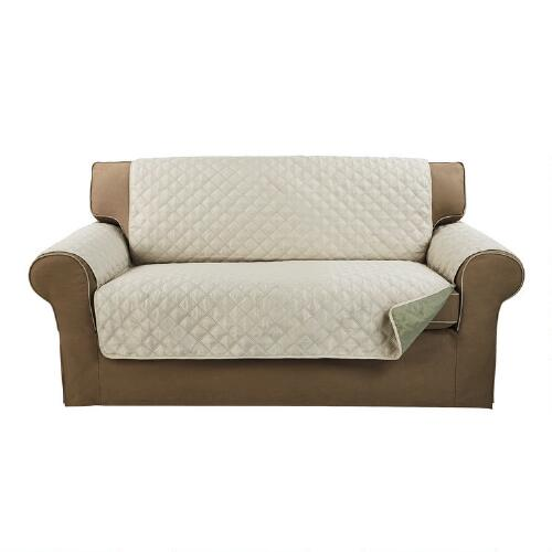 Reversible Sage Tan Loveseat Cover Christmas Tree Shops Andthat