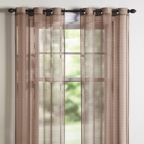 Taupe Checked Sheer Window Panel Pair | Christmas Tree Shops andThat!