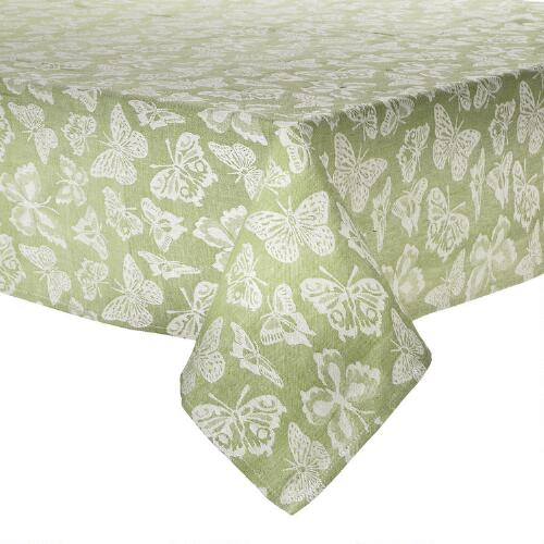 Table Cloth Green : Green & White Butterfly Jacquard Tablecloth  Christmas Tree Shops ...