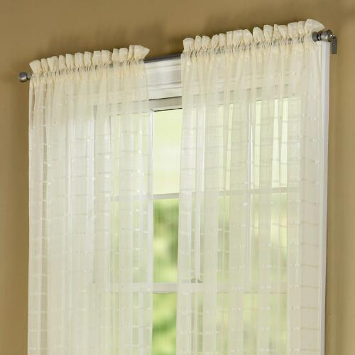 Ivory grid patterned sheer window panels set of 2 for Patterned sheer curtain panels