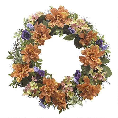 orange and purple mixed spring floral wreath christmas tree shops andthat. Black Bedroom Furniture Sets. Home Design Ideas
