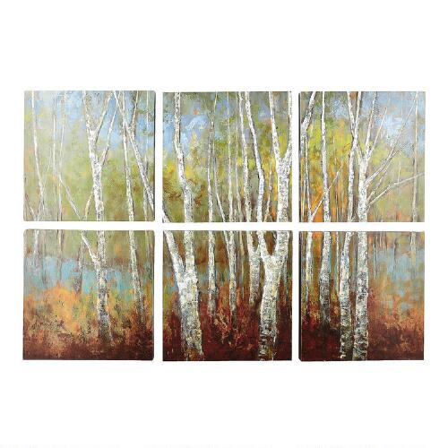 How To Bring Summer Vibes Into Your Home 6 Color Ideas: Birch Tree Canvas Wall Art, 6-Piece